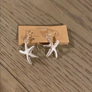 Women's silver dangle star fish earrings